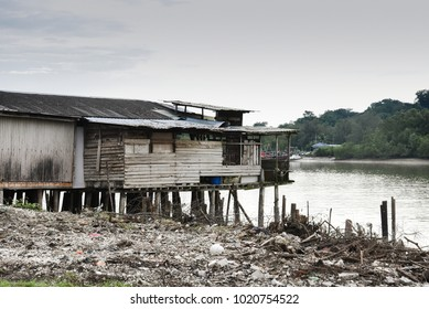 Wooden house on the water in Kuala Selangor river, Malaysia.
