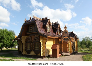 Wooden house in Pereslavl-Zalessky city (Russia) with the carved windows