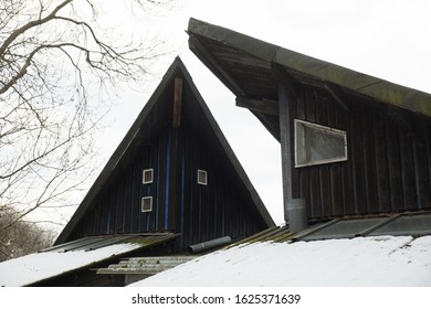 Wooden House Roof Window Winter