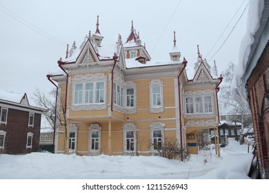 Wooden house and snow winter in Tomsk city (Russia)