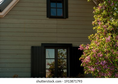 wooden house in the summer spring sunlight with a blooming purple lilac bush in the yard and a reflection in the window