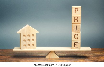 Wooden house and the word Price on the scales. Fair valuation property concept. Home appraisal. Fair trade and cost. Legal transparent deal. Business and real estate