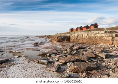 wooden houses of a fishing village on Gotland island, Sweden, Scandinavia, Europe