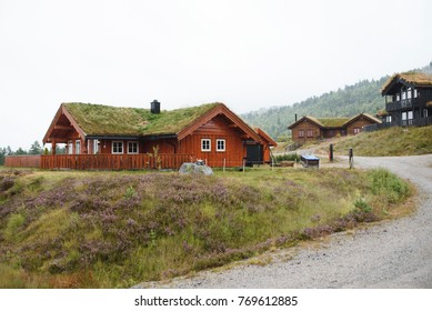 wooden houses with grass roof at village in Norway