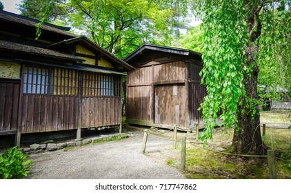 Wooden houses at Kakunodate Samurai District in Akita, Japan. Kakunodate is a former castle town and samurai stronghold in Akita Prefecture.
