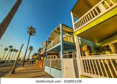 Wooden houses in Newport Beach seafront. Los Angeles, California