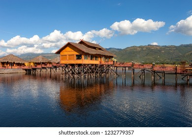 Wooden houses on piles inhabited by the tribe of Inthar, Inle Lake, Myanmar