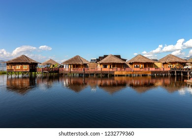 Wooden houses on piles inhabited by the tribe of Inthar, Inle Lake, Myanmar.