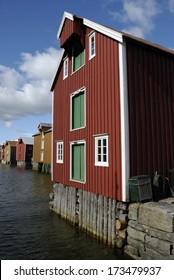 Wooden Houses on Sjoegata in Mosjoen, Norway