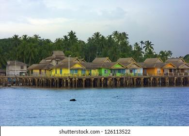 wooden houses in Penyengat island, indonesia