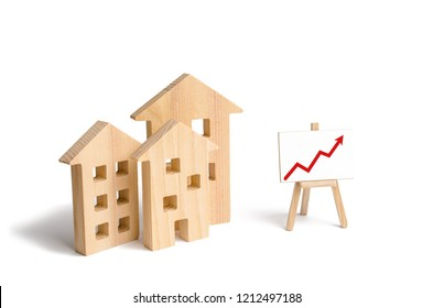 Wooden houses stand with red arrow up. Growing demand for housing and real estate. The growth of the city and its population. Investments. concept of rising prices for housing or rent.