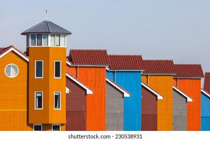 Wooden Houses in various Colors in Groningen, Netherlands