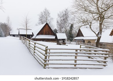 Wooden houses of Vesely Kopec folk museum. Czech rural architecture. Vysocina, Czech Republic. Traditional wooden timbered cottage in winter. Folk open air museum. Most popular place in highlands. - Shutterstock ID 1918242857
