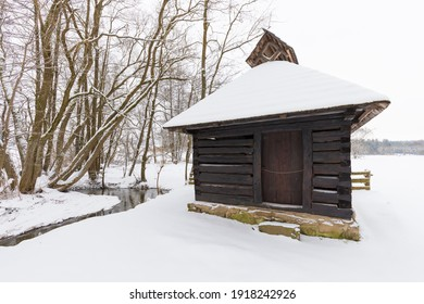 Wooden houses of Vesely Kopec folk museum. Czech rural architecture. Vysocina, Czech Republic. Traditional wooden timbered cottage in winter. Folk open air museum. Most popular place in highlands. - Shutterstock ID 1918242926