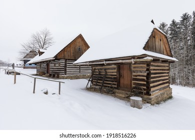 Wooden houses of Vesely Kopec folk museum. Czech rural architecture. Vysocina, Czech Republic. Traditional wooden timbered cottage in winter. Folk open air museum. Most popular place in highlands. - Shutterstock ID 1918516226