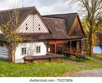 Wooden houses of Vesely Kopec folk museum. Czech rural architecture. Vysocina, Czech Republic.