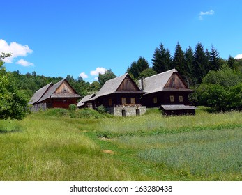 wooden houses in the village
