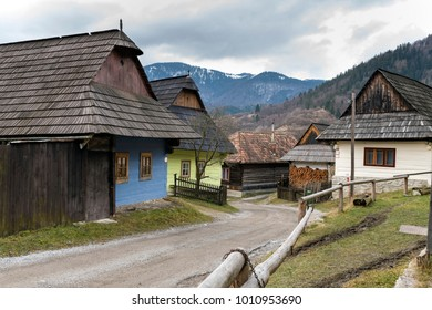 Wooden houses in Vlkolinec village, Slovak republic, Unesco. Cultural heritage. Travel destination. Folk architecture.