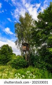 Wooden Hunters High Seat in Beautiful Landscape, Czech Republic Scenery
