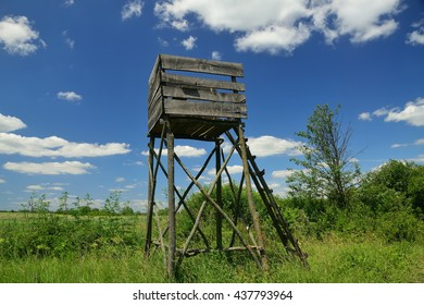 Wooden Hunters High Seat in rural Landscape