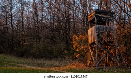 Wooden hunting box hide in the woods painted orange by the last rays of the sunset - the ideal place and light conditions for hunting is after sunset
