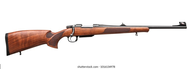 wooden hunting rifle isolated on white background
