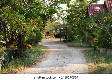 Wooden hut in garden of resort and homestay for thai people and foreigner travelers rent and rest in morning time at  the City of Phraya Lae the Brave in Chaiyaphum, Thailand