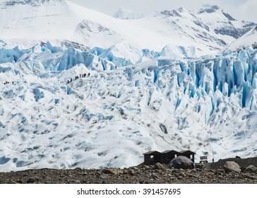 Wooden hut next to the Perito Moreno Glacier in Argentina