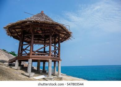 Wooden hut on the beach