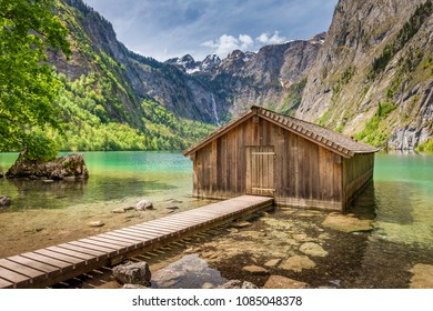 Wooden hut on Obersee lake, Alps, Germany
