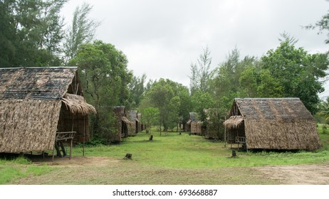 Wooden huts constructed with renewable natural materials using bamboos and palms background