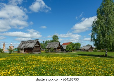 Wooden huts in Russian village in Suzdal