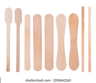 Wooden ice-cream sticks isolated on white background