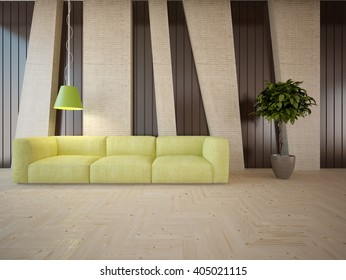 Wooden interior of living room with colored furniture - 3d illustration