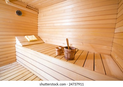 wooden interior of sauna wide angle shoot