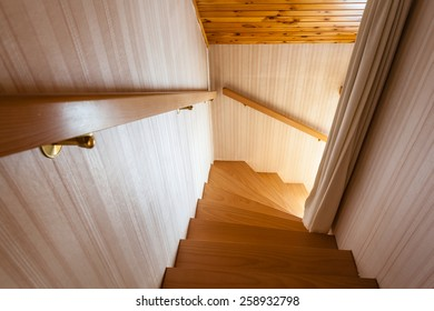 wooden interior staircase of a chalet or cottage in austria