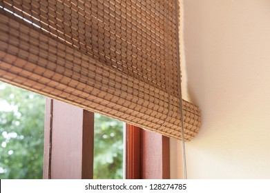 wooden jalousie, a interior decoration detail from natural material