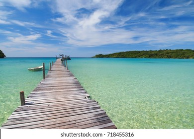 Wooden jetty to the beautiful sea, Koh Kood (Ko Kut), Trat Province, Thailand.
