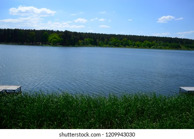 Wooden jetty on a beautiful lake