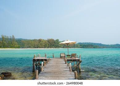 Wooden jetty on exotic beach  Koh Kood island,Trat, Thailand