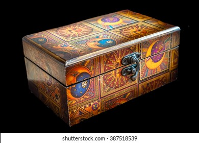 Wooden jewelry box isolated on black background