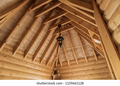 Wooden joints in ceilings in a wooden hut.