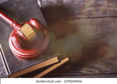 Wooden judge gavel, close-up view