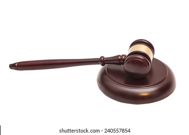 Wooden judge gavel and soundboard isolated on white background