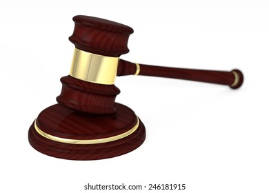 Wooden judge gavel and soundboard, isolated on white background