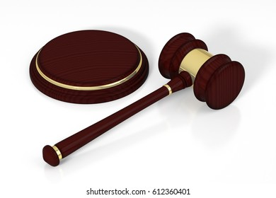 Wooden judge gavel and soundboard, isolated on white background. 3D illustration