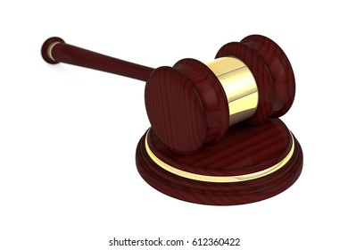 Wooden judge gavel and soundboard, isolated on white background.