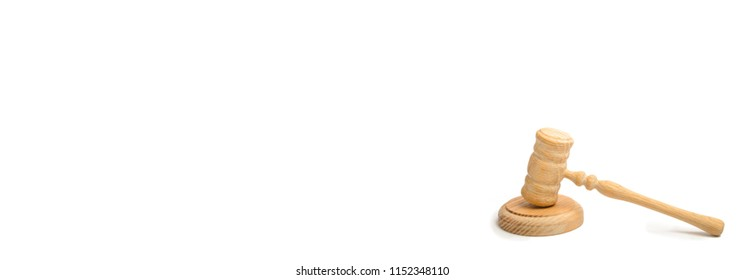 Wooden judge hammer on a white background. court cases. Lawyers and prosecutors. Assistance and protection of interests in judicial sitting. Judge. The judicial system. banner Place for text copyspace