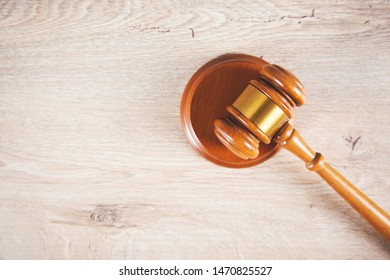 wooden judge on the wooden table background
