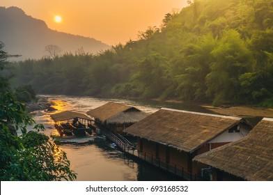 Wooden jungle raft in Kanchanaburi, Thailand